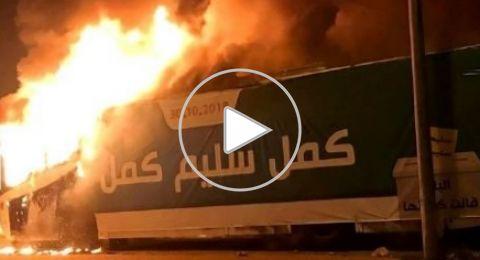مجد الكروم: حرق حافلة عليها دعاية انتخابية للرئيس سليم صليبي
