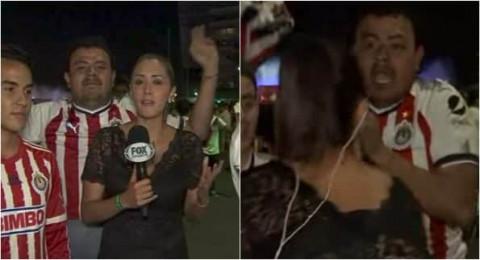 ردة فعل مذيعة مكسيكية بعد تحرش مشجع بها على الهواء!
