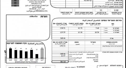 مياه الجليل تصدر فواتير الحساب الشهرية وتمنح المواطنين تخفيضًا عن شهري أيار وحزيران
