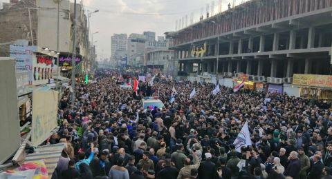 تشييع حاشد للمهندس وسليماني يشل حركة المرور في بغداد