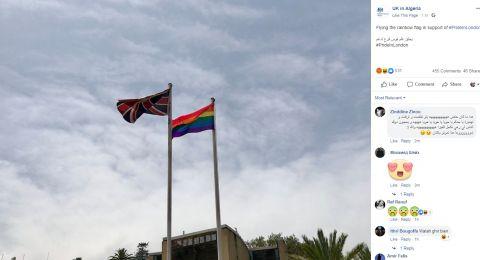 السفارة البريطانية في الجزائر ترفع علم المثليين داخل مقرها