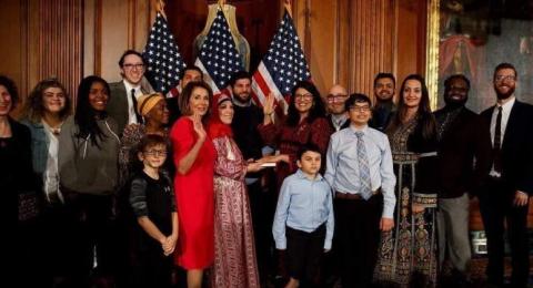 رشيدة طليب بثوب فلسطيني داخل الكونغرس الامريكي