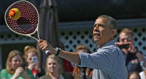 اوباما يتحدى فيدرر ونادال في التنس