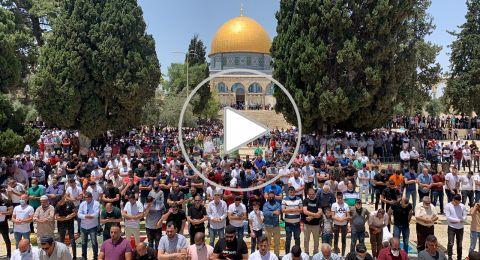 بدون كمامات..50 ألف مصلٍّ يؤدون صلاة الجمعة بالمسجد الأقصى